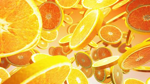Falling fresh orange on yellow background. Close up. 4K Animation