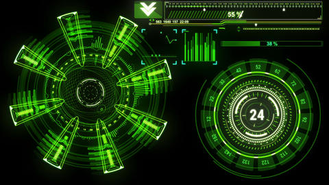 Beautiful Futuristic HUD Target Scanner with Radar Rotation. Head-up Display Animation