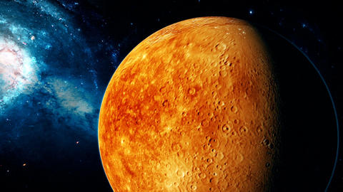 Realistic beautiful planet Mercury from deep space Animation