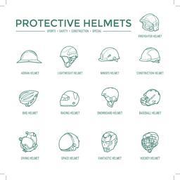 Protective Helmets Icons Vektor