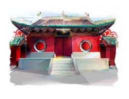 Chinese Temple. Watercolor Illustration Vector