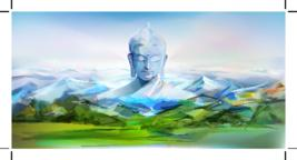 Buddha And Mountains, Vector Landscape Vector
