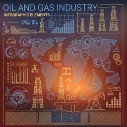 Oil and Gas Industry Infographic Elements ベクター