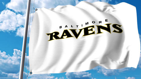 Waving flag with Baltimore Ravens professional team logo. 4K editorial clip Footage