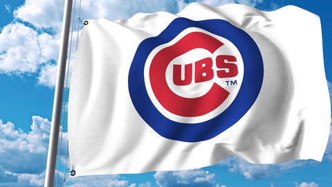 Waving flag with Chicago Cubs professional team logo. 4K editorial clip Footage
