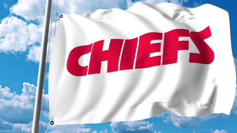 Waving flag with Kansas City Chiefs professional team logo. 4K editorial clip Footage