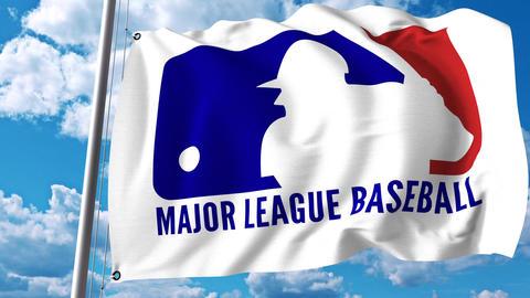 Waving flag with ML Baseball logo. 4K editorial clip Footage