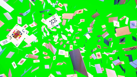 Ultra HD Loopable animation of flying playing cards on green screen Animation