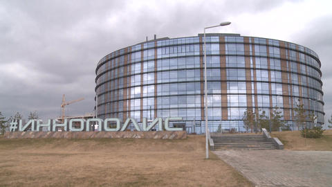 Beautiful View Innopolis Office Building against Cloudy Sky Footage
