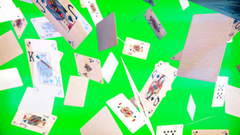High quality animation of flying playing cards on green screen Animation