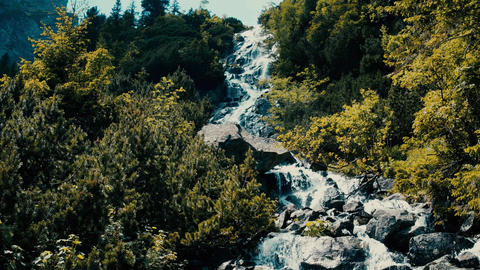 Rushing foamy water of the rocky waterfall in the forest Footage