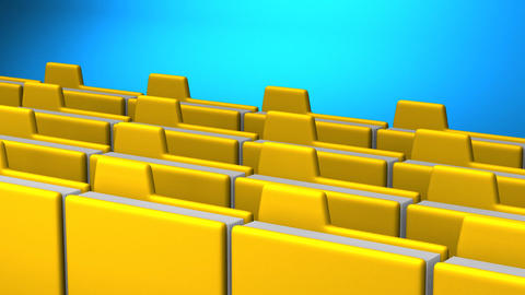 Yellow Folders And Documents On Blue Background CG動画