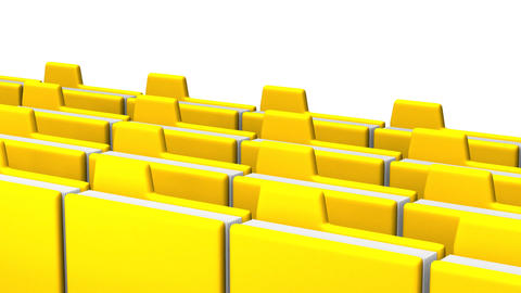 Yellow Folders And Documents On White Background CG動画