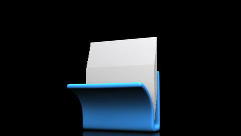 Blue Folder And Documents On Black Background CG動画
