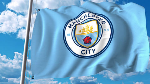 Waving flag with Manchester City football team logo. 4K editorial clip Footage