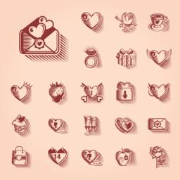 Valentines Day Retro Icon Set Vector