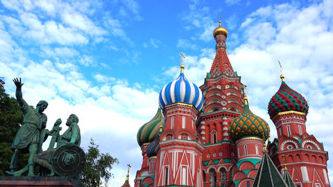 St Basil Cathedral on the Red square in Moscow Footage