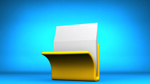 Yellow Folder And Documents On Blue Background CG動画
