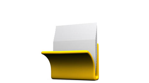 Yellow Folder And Documents On White Background CG動画