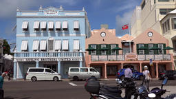 Bermuda capital city Hamilton row of colorful Caribbean houses in Front street Footage
