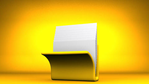 Yellow Folder And Documents On Yellow Background Animation
