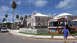 Bermuda Royal Naval Dockyard Houses with gastronomy at the Dockyard Terrace Footage