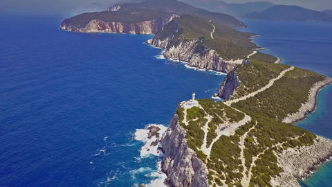Fly over cape with lighthouse of Lefkada, Greece Footage