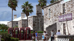 Bermuda Royal Naval Dockyard Terrace with stone houses and telephone boxes Image