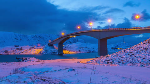 Winter Evening Bridge in Lofoten. Time Lapse Filmmaterial