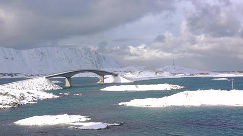 Winter Bridges in Lofoten. Time Lapse ビデオ