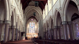 Bermuda capital city Hamilton interior view of Anglican cathedral church nave Footage