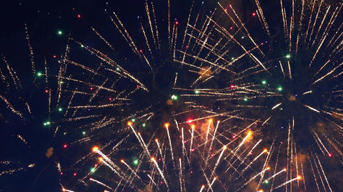 Beautiful colorful fireworks show in night sky Footage
