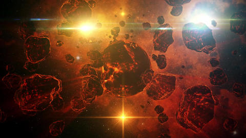 3D Red Orange Sci-Fi Space Planet Intro Scene Motion Background Animation