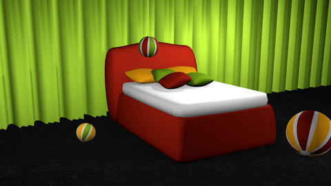 Bed with softballs Animation