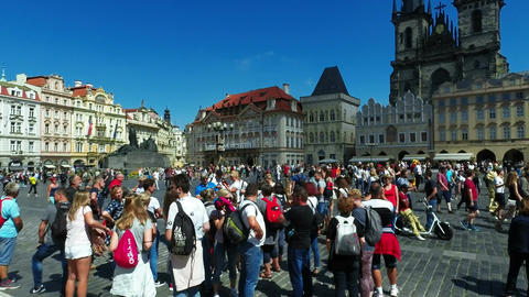 Tourists on Old Town Square, Tyn Church Image