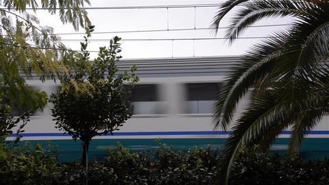 Train people in high-speed car passes in front of a hedge that separates the pro Footage
