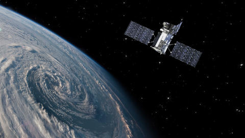 sattellite orbiting around the earth with hurricane - 4K Footage