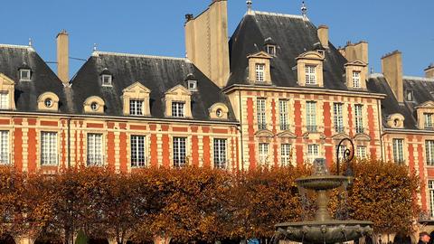 Place des Vosges in Paris. France Footage