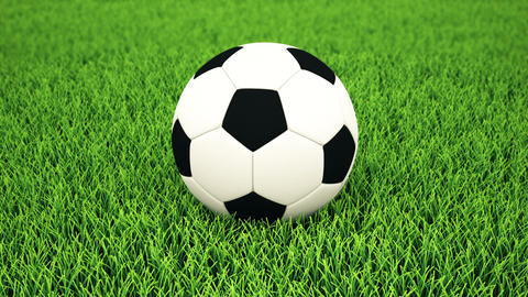 Soccer ball on grass, DOF Animation