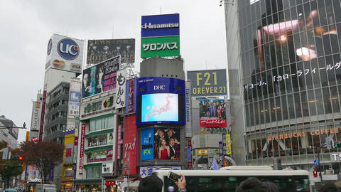 Buildings Advertising Signs Lights Billboards In Shibuya Tokyo Japan Asia Footage