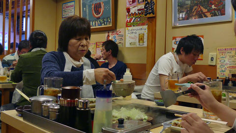 Asian Japanese People Eating Food In Traditional Restaurant Tokyo Japan Footage