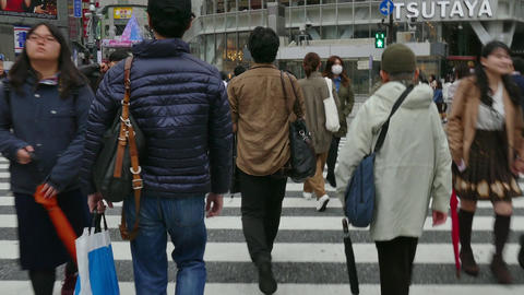 Crowd Pedestrians People Crossing The Street In Tokyo Japan Asia Footage