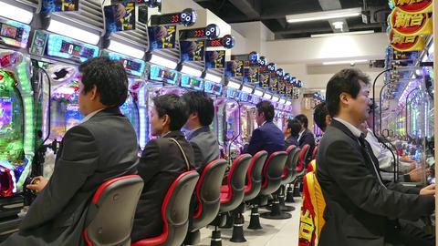 Japanese Men People Playing Pachinko Game Gambling Tokyo Casino Footage
