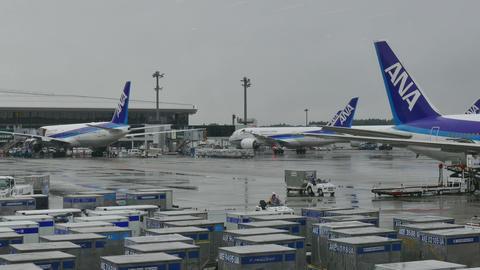 Narita Airport Tokyo Japan Asia Airplanes Planes Aircrafts Air Transportation stock footage