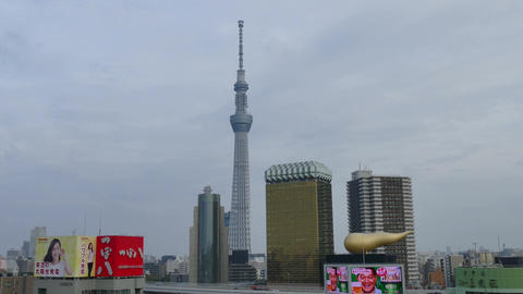 Landscape Skytree Tower Modern Architecture City Buildings Tokyo Japan Asia Footage