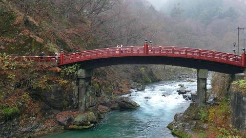 Shinkyo Bridge River Mountains Nikko Japan Asia Tourist Attraction Monument stock footage