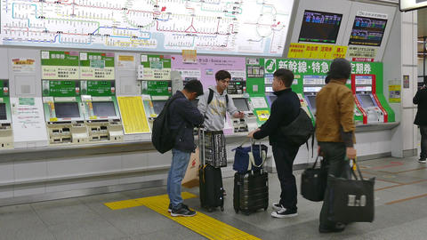 Travelers People Buying Subway Tickets In Train Station Tokyo Japan Footage