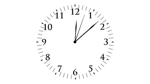 Animation, clock time without seconds, white background, 4K Footage