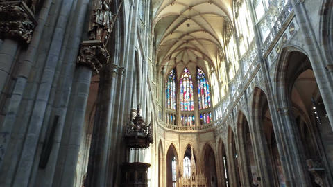 Prague, - August 21, 2017. Cathedral of St. Vitus inside GIF