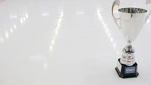 Camera Moves along Rink Ice and Shows Cup before Ceremony Footage